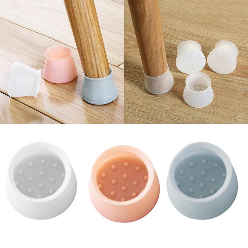 4pcs/set Silicone Table And Chair Foot Cover Table Foot Pad Table Leg Protector Chair Protection Bench Mute Chair Footpad