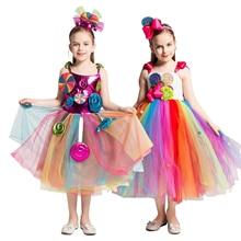 Rainbow Sweet Candy Fairy Girl Birthday Costume Kids Rainbow Lollipop Flower Bow Tutu Dress and Headband for Carnival Party