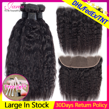 Peruvian Kinky Straight Hair 3 Bundles With Closure 13x4 Frontal Brazilian Weave Coarse Yaki Human Remy - discount item  42% OFF Beauty Supply