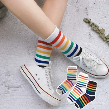 women Tide the new arrival fashion rainbow stripe sport cotton happy funny socks cute colorful