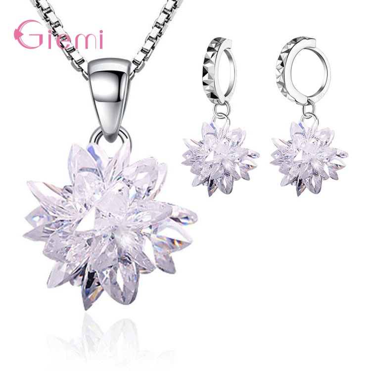 Real 925 Sterling Silver Trendy Particular 5A Crystal Ice Flower Pendant Drop Earrings Jewelry Sets For Girls Woman Party Gifts