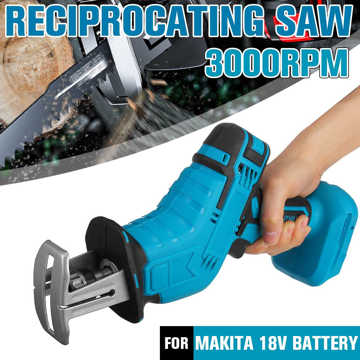 18V Portable Cordless Reciprocating Saw Replacement Electric Saw Metal Wood Cutting Machine Tool for Makita 18V Battery