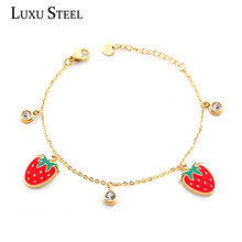 LUXUSTEEL Cute Baby Girl Strawberry and Round Cubic Zirconia Chains Bracelets Best Friend Stainless Steel Collier Bangles Mujer