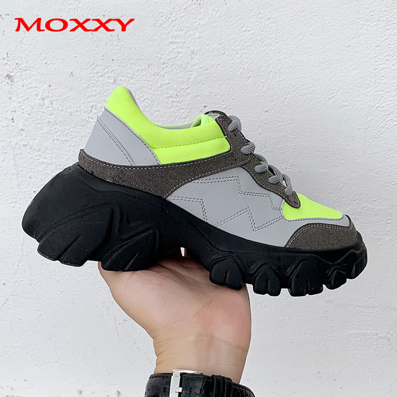 2019 New Brand Vintage Sneakers Women Chunky Sneakers Platform Thick Sole Comfort Creepers Fashion Designer Casual Shoes Woman