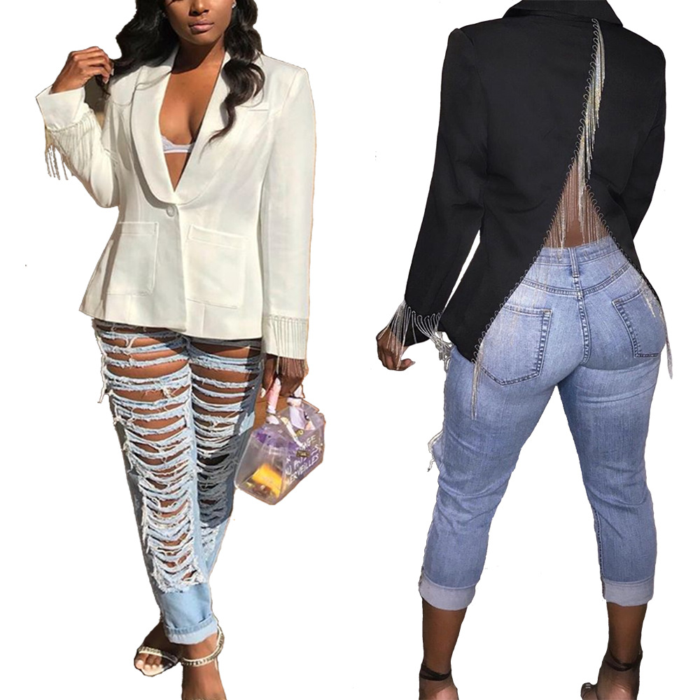 Suit Women Blazers And Jackets Elegant Solid White Black Blazer Female Coats Autumn Vintage Long Sleeve Ladies Suits Clothes