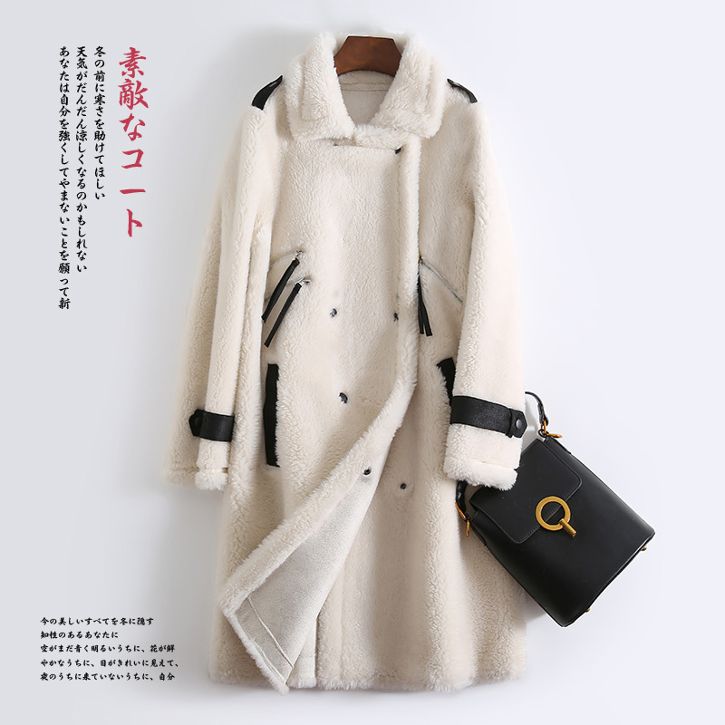 Coat Fur Real Female Sheep Shearling Fur Jacket Winter Coat Women Clothes 2020 Real Wool Coat Korean Long Jackets MY4591 S