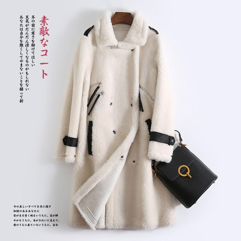 Coat Fur Real Female Sheep Shearling Fur Jacket Winter Coat Women Clothes 2020 Real Wool Coat Korean Long Jackets MY4591 S