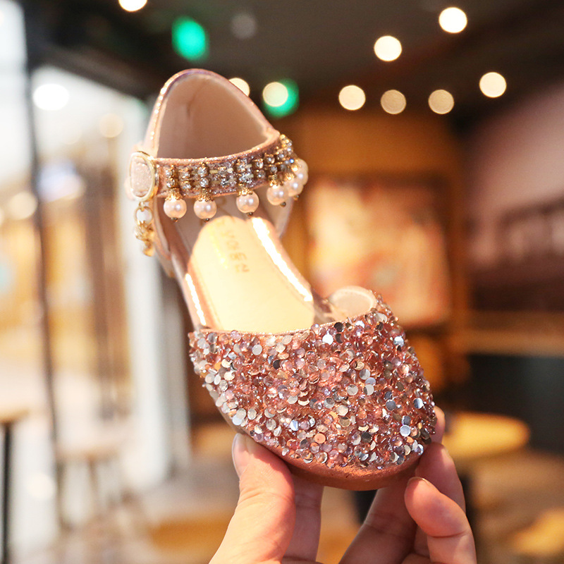 New Fashion Sequin Children Kids Shoes Big Girl Sandals For Summer Dance Princess Beading Leather Shoes 3 4 5 6 7 8 9 10 12 Year