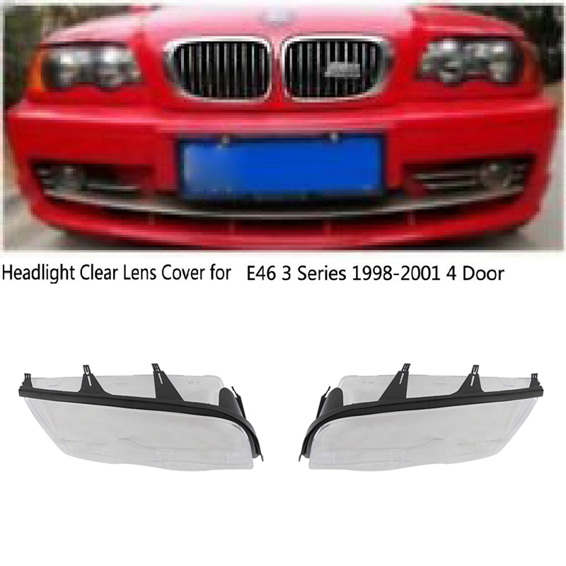 1Set Car Headlight Head Light Lamp Lense Clear Lens Cover With Sealing Sealing Strip For BMW E46 4 Door 323I 325I 325xi 328I 330