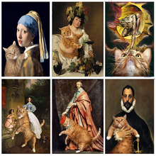 5D Diamond Embroidery Portrait And Cat Diy Diamond Painting Cross Stitch Full Drill Round Mosaic Pattern Arts And Crafts Gifts цена