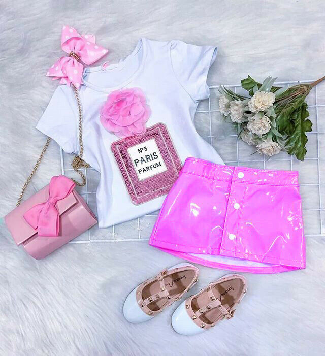CANIS Summer Toddler Kids Baby Girl Short Sleeve 3D Flower Tops T-Shirt Leather Skirt Lovely Fashion Outfits Clothes