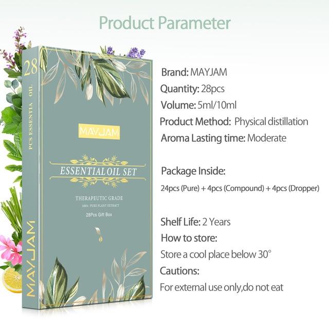 28pcs Pure Natural Essential Oils Gift Set Massage Shower Diffuser Aroma Oil Lavender Vanilla Sage Jasmine Rose Stress Relief 6