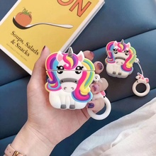 Cute Unicorn Silicone Bluetooth Earphone Case for Apple Airpods Fashion Earpods Earbud Portable Airpod Cover Set