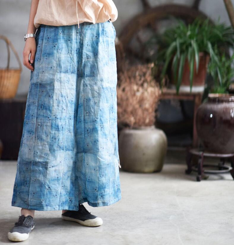 Casual Women   Wide     legs     Pants   2019 Print Summer Cotton Linen Elastic Waist Big Size Leisure Loose Fashion   Pants