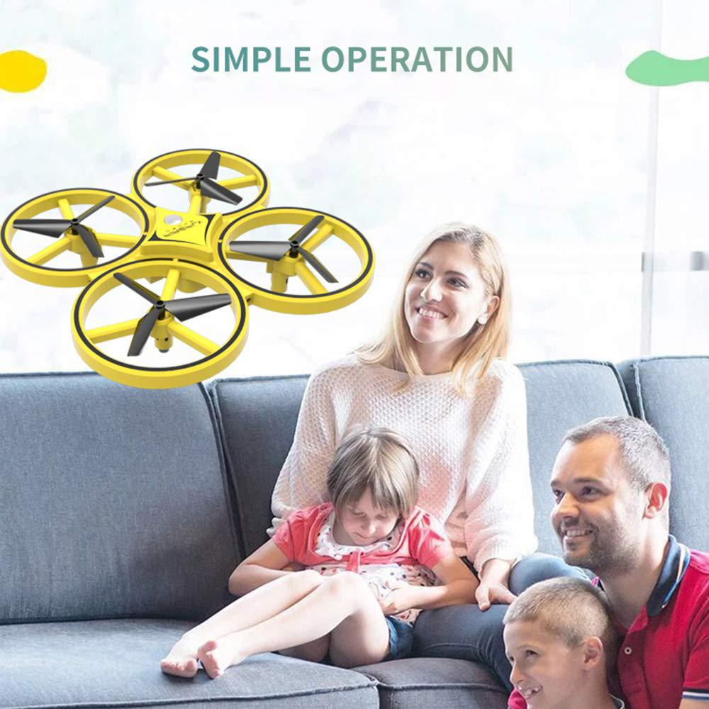 ZF04 RC Drone Mini Infrared Induction Hand Control Drone Altitude Hold 2 Controllers Quadcopter for Kids Toy Gift (Yellow)