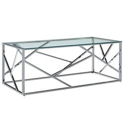 VidaXL طاولة قهوة شفافة 120x60x40 سم خفف من الزجاج والفولاذ المقاوم للصدأ