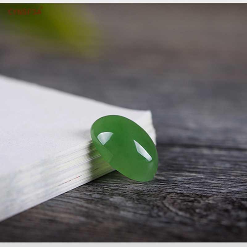 CYNSFJA จริงหายากได้รับการรับรองหยกธรรมชาติ Hetian Jasper Lucky หินสีเขียวคุณภาพสูงส่วนตัว Fine เครื่องประดับที่ดีที่สุดของขวัญ