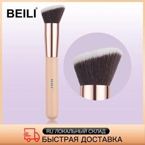 Image 1 - BEILI foundation make up brushes Flat Contour Cream Powder Blush Face shape Single Synthetic Hair Black/Pink Makeup brushes
