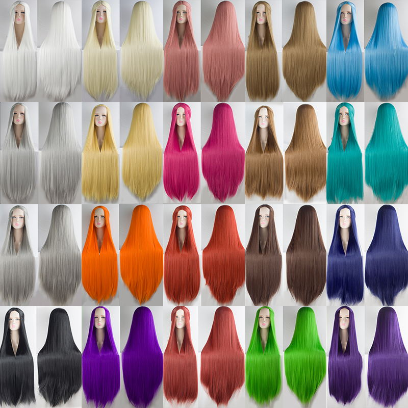 AILIADE 100cm 21 Different Colors Full Bangs Straight Long Heat Resistance Synthetic Hair Cosplay Costume Wigs