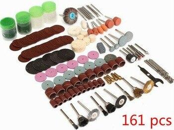 цена на 161pcs Shank Rotary Tool Accessories Set Mini Drill Bit Kit Grinding Sanding Polishing Cutting Universal Fitment for Dremel