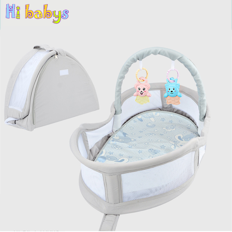 Portable Baby Crib Newborn Travel Bed Toddler Sleeping Basket Multi-function Folding Bed With Teether And Diaper Cushion