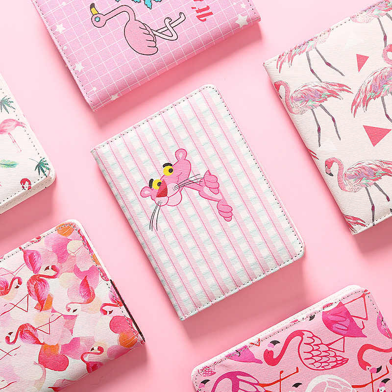Kawaii Flamingo Pink Panther PU Cover Traveller Bullet Journal Travel Notebook Diary Book Planner Notepad Gift Stationery