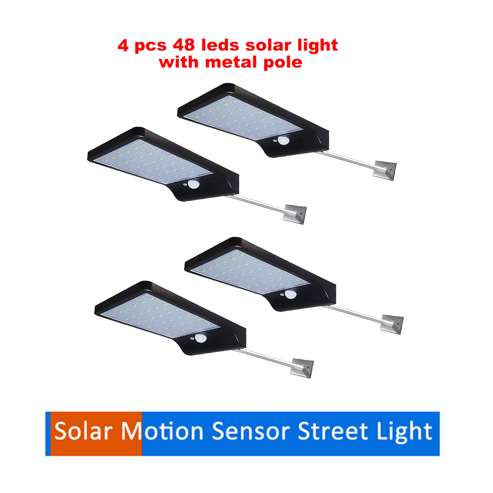 2/4pcs 48 LEDs PIR Motion Sensor Solar Street Light 3 Modes Garden Security Lamp Outdoor Light Waterproof Energy Saving Wall Lam