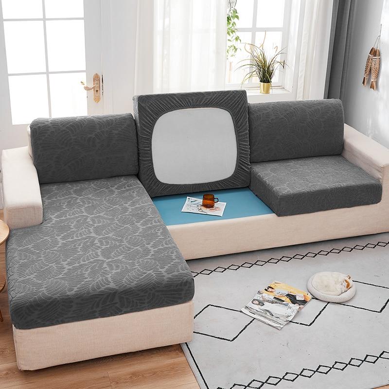 Fabirc-funda de cojín de sofá elástica, 1/2/3/4 asientos, funda gruesa, funda cubresofá