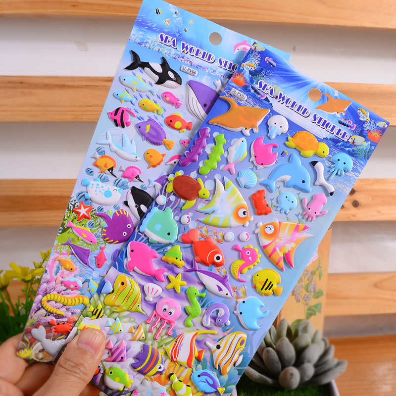 4pieces 3d cute underword Fish anime laptop Stickers Toy for Children Ocean Fish stiker Animal Kids boy Girl Rewards sticker