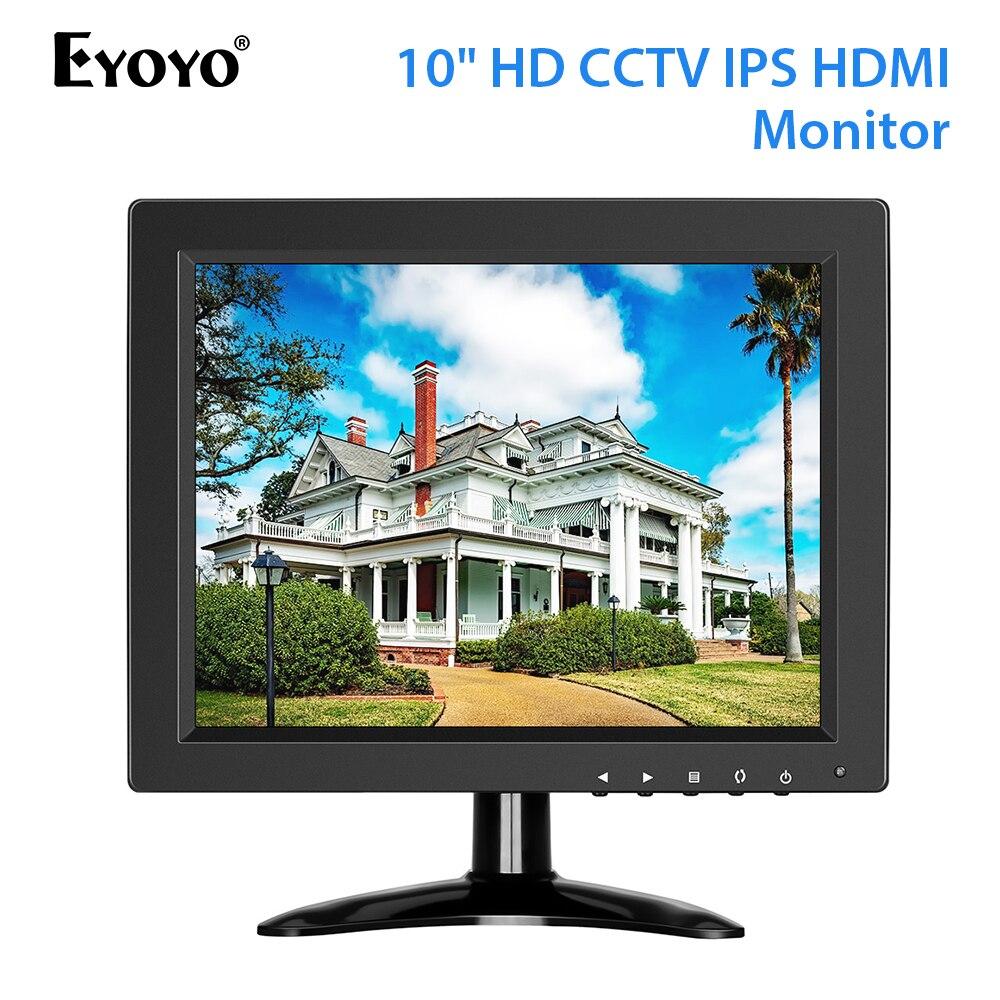 Eyoyo 10 pouces moniteur de vidéosurveillance de sécurité petit moniteur Portable HDMI LCD IPS HD 1024x768 4:3 avec entrée BNC HDMI VGA AV pour PC raspberry be