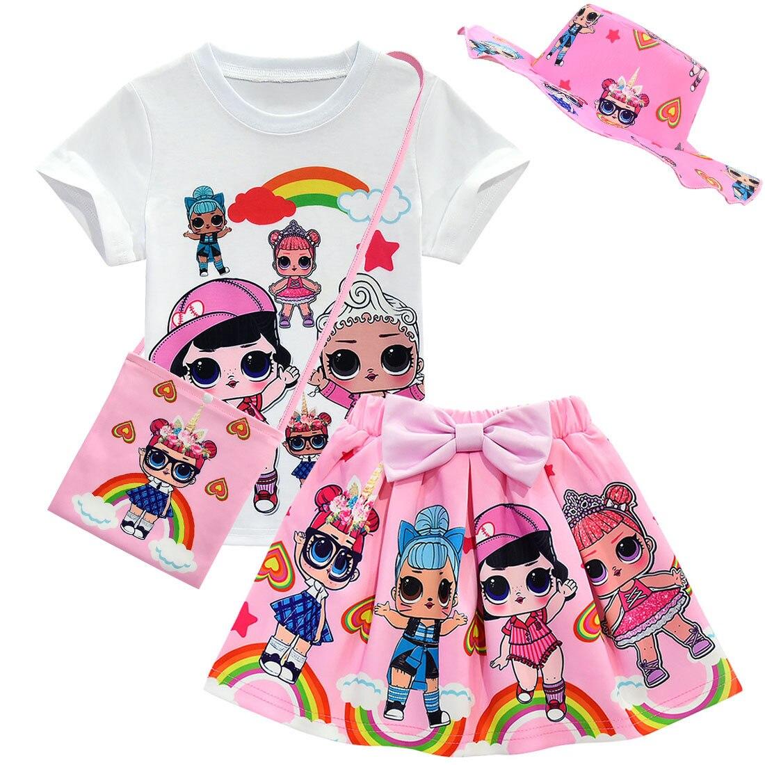 Girls Birthday Party Tutu Lol Dress Tshirt Skirt Bag Hat Gloves Suit Girls Clothing Lol Set Baby Kids Toddler Girls Set Clothes