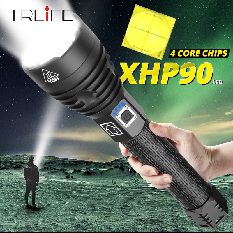 Super Powerful Xlamp XHP70 2 XHP90 LED Flashlight LED Torch USB XHP50 Lamp Zoom Tactical Torch 18650 26650 Rechargeable Battey