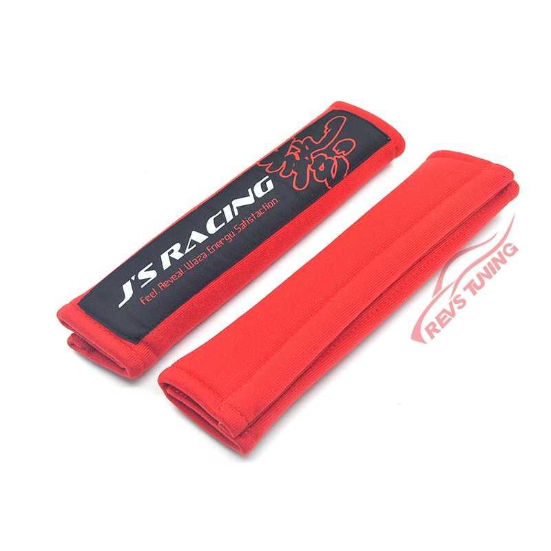 1 ペア黒/赤綿 JS レーシングカーシートベルトのショルダーパッド安全ベルトカバープロテクタークッション