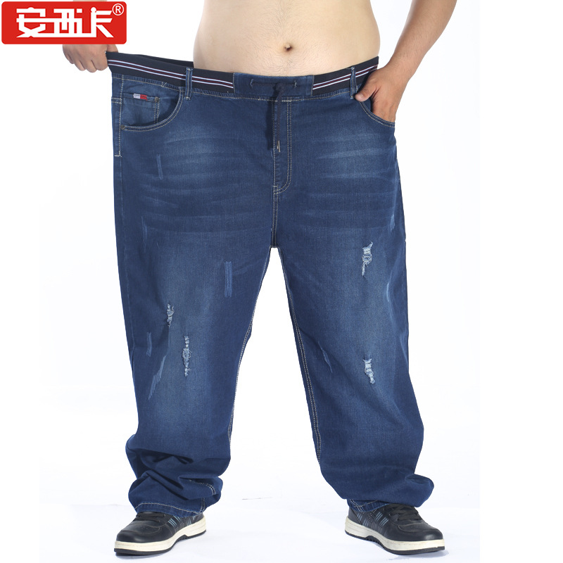 Fat Large Size Jeans High-waisted Lard-bucket Elasticity Plus-sized Straight-Cut Cowboy Trousers 5001