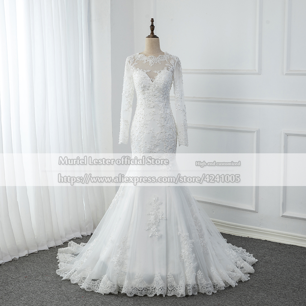 Vestido De Casamento Sexy Mermaid Wedding Dress White Tulle Long Sleeves Lace Appliques Pearls Bridal Gown Robe Mariee Trouwjurk