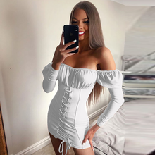 Off Shoulder Puff Sleeve Dress Women High Waist Slim Casual Vintage Long Sleeve Mini Dress Sweet Ruched Bow Lace Up Dresses