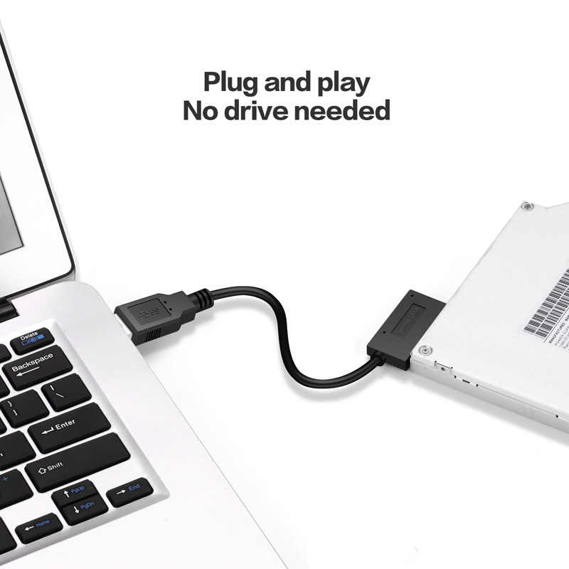 USB 3,0 zu 7 + 6 13Pin Slimline SATA Kabel Anzeige für Notebook der DVD/CD-ROM für HDD Caddy stick Adapter