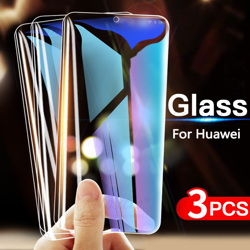 3PCS 9H Tempered Glass For Huawei P20 P30 Lite Pro Honor 10 20 Pro Screen Protector On Honor 9 10 Lite 10i Protective Film Glas