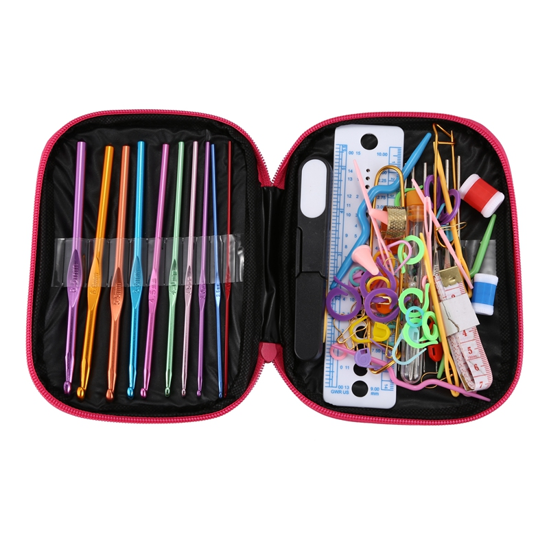 100pcs Crochet Hooks Set Knitting Tool Accessories With Leather Case