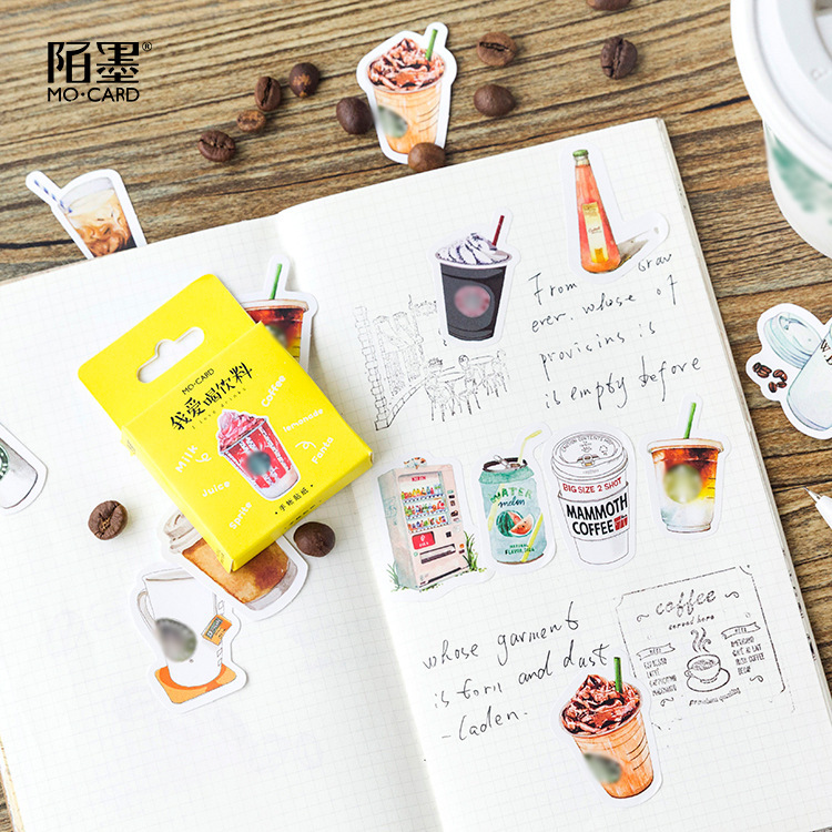 Vintage Drink Stickers Set 45 Pcs/Pack Traveling Sticker Bullet Journal Diary Planner Kawaii Adhesive Paper Cute Stationary