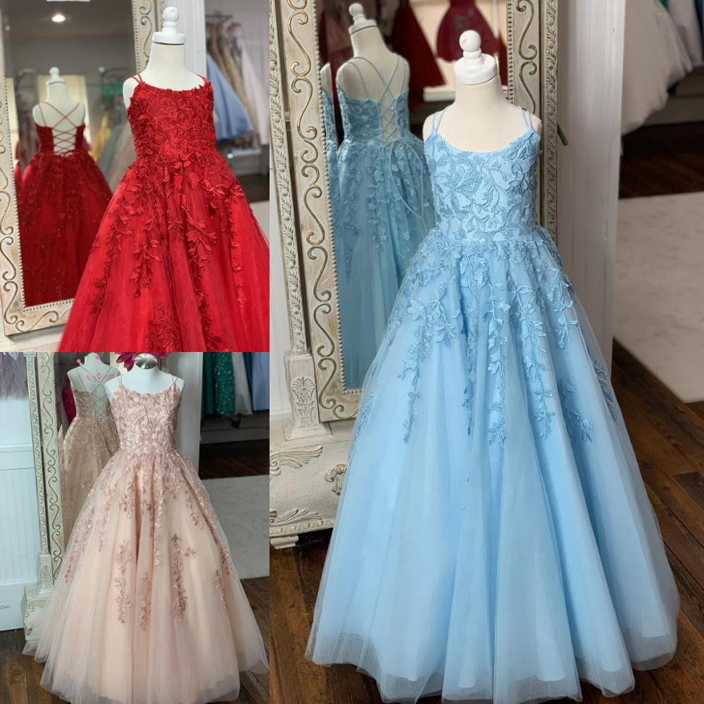 SH Little Girl Pageant Dresses 2019 Straps Neck A Line Princess Kids Formal Party Wedding Gowns Red Sky Blue Blush Ivory