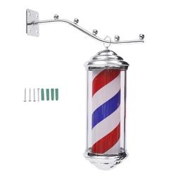 1Pc 35*15*15cm Metall Barber Shop Licht Rot Weiß Blauen Streifen Rotierenden LED Licht Friseur salon Outdoor Zeichen Mit 1,5 m Kabel