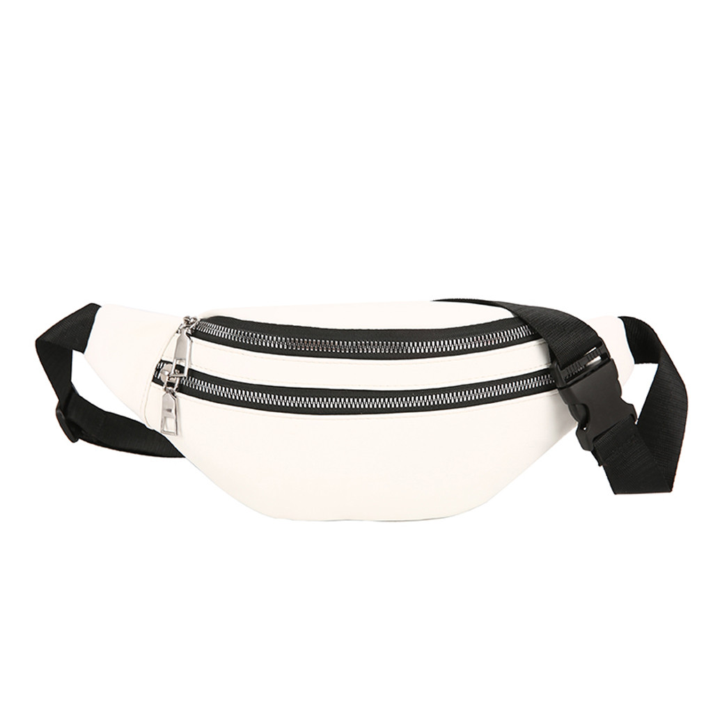 Colorful Waist Bag Women Joker Crossbody Fashion PU Leather Chest Pocket Pocket Shoulder Bag Sport Runner Zipper Bags For Women