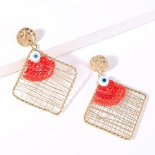 Bohemian Handmade Geometric Red Acrylic Beaded Drop Earrings For Women Korean Resin Evil Eye Big Earring Trendy Jewelry Gifts(China)