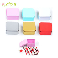 30pcs Square Tin Boxes Sugar Chocolate Gift Tin Cans Lip Balm Nail Art Metal Storage Box Wedding Candy Box DIY Cream Cake Boxes