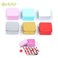 30pcs/set Square Metal Tin Boxes Sugar Chocolate Gift Collection Tin Cans Lip Balm Nail Art Makeup DIY Cream Cosmetic Box