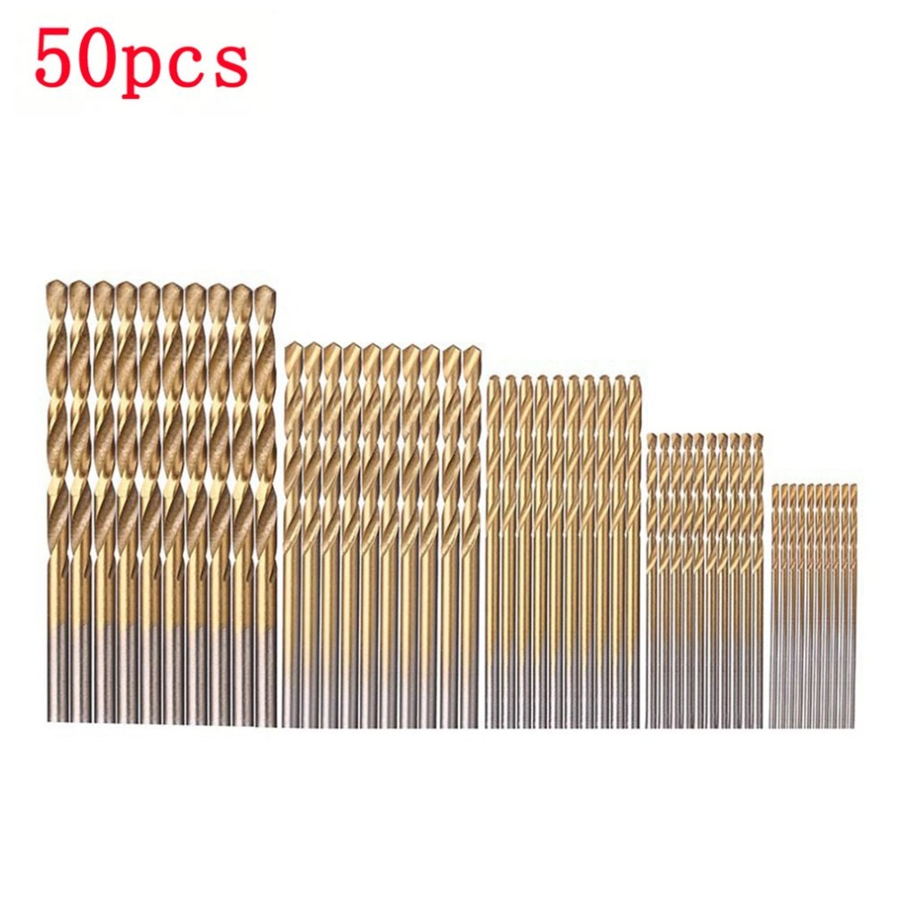 50pcs High Speed Steel Titanium Coated Drill Bit Set Wood Drilling Hole Woodworking Wood Tool For DIY Home Building