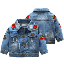 Girl Denim Jacket Coat Flower Rose Embroidery New Fashion Children's Spring Autu