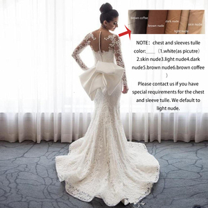 Image 5 - 2020 Luxury Mermaid Wedding Dresses Sheer Neck Long Sleeves Illusion Full Lace Applique Bow Overskirts Button Back Chapel Train