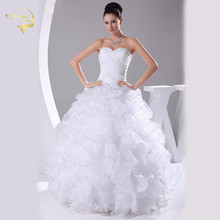 Jeanne Love New Arrival Wedding Dresses 2017 White Bridal Gown Organza Robe De Mariage Vestido Novia Casamento JLOV75921